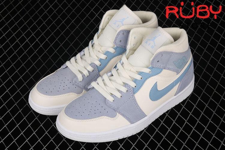 Giày Jordan 1 Mid Mixed Textures Blue Xanh Da Lộn