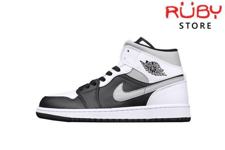 Giày Jordan 1 Mid White Shadow Trắng Xám Đen