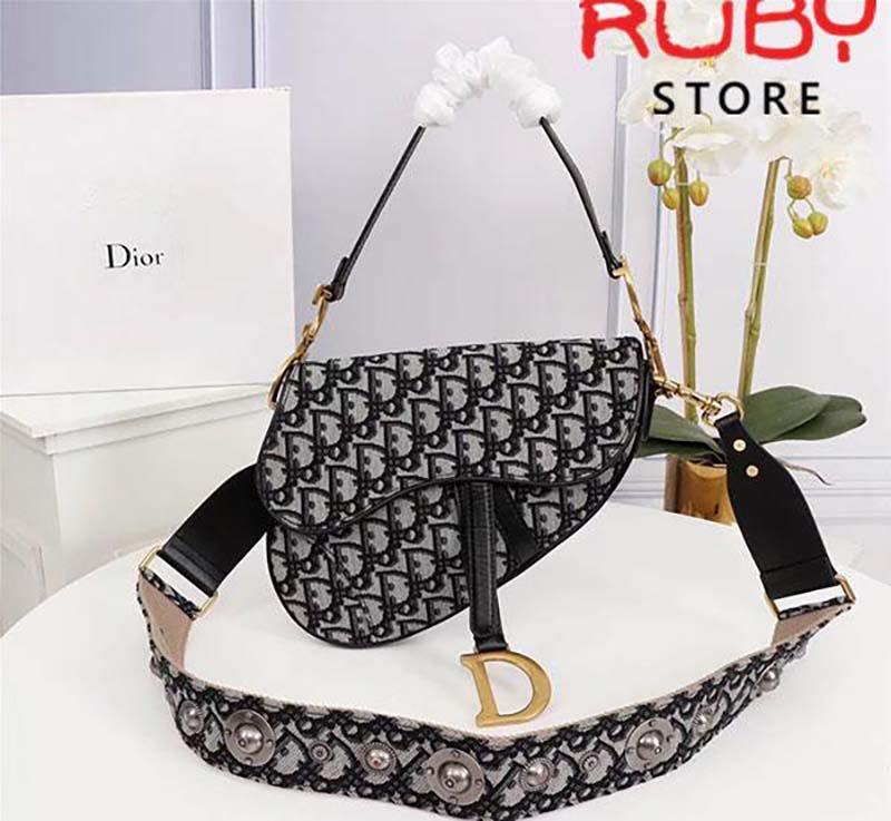 Túi Saddle Bag Blue Dior Oblique Jacquard Cao Cấp