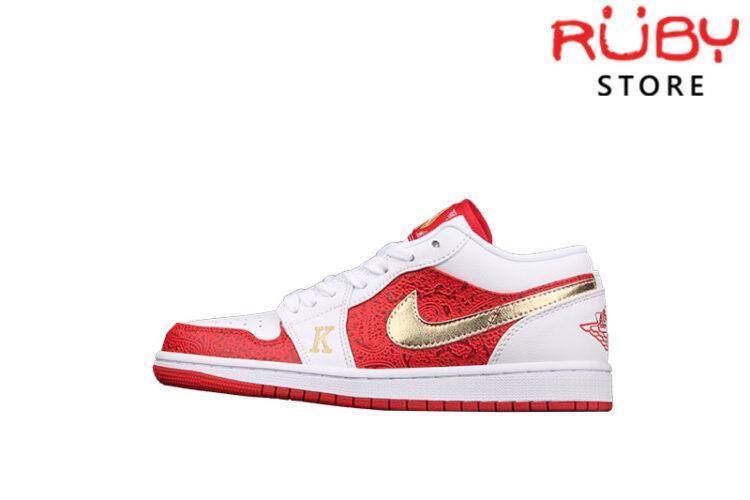 Giày Air Jordan 1 Low Spades Trắng Đỏ