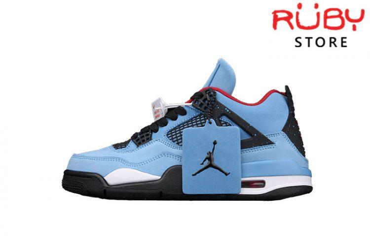 Giày Jordan 4 Retro Travis Scott Cactus Jack Xanh Dương