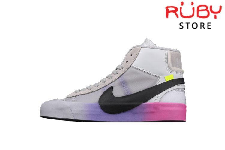 Giày Nike Blazer Mid Off-White Wolf Grey Serena Queen Xám